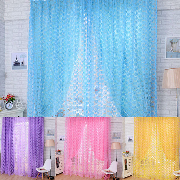 Rose Tulle Window Screens Door Balcony Curtain