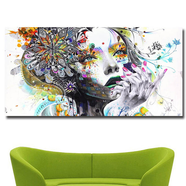 Colorful Beauty Girl Print on Canvas Painting No12