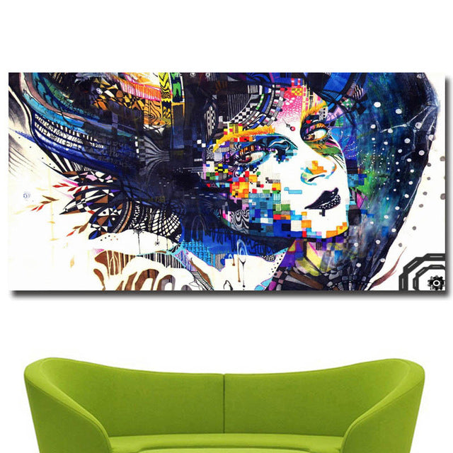 Colorful Beauty Girl Print on Canvas Painting No10