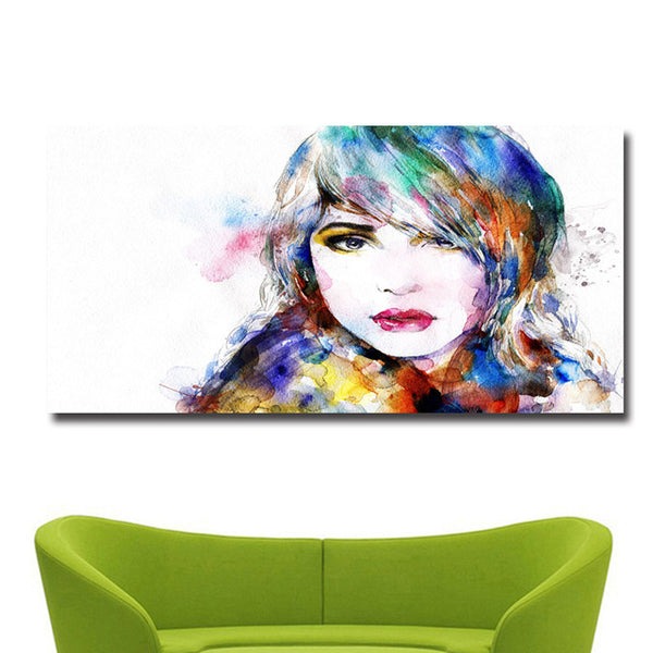 Colorful Beauty Girl Print on Canvas Painting No8