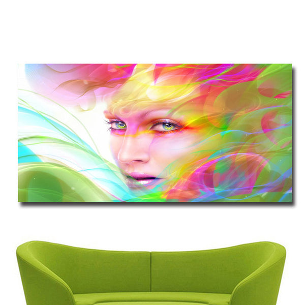 Colorful Beauty Girl Print on Canvas Painting No4