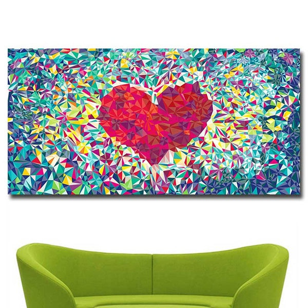 Heart in Colors Print on Canvas Painting