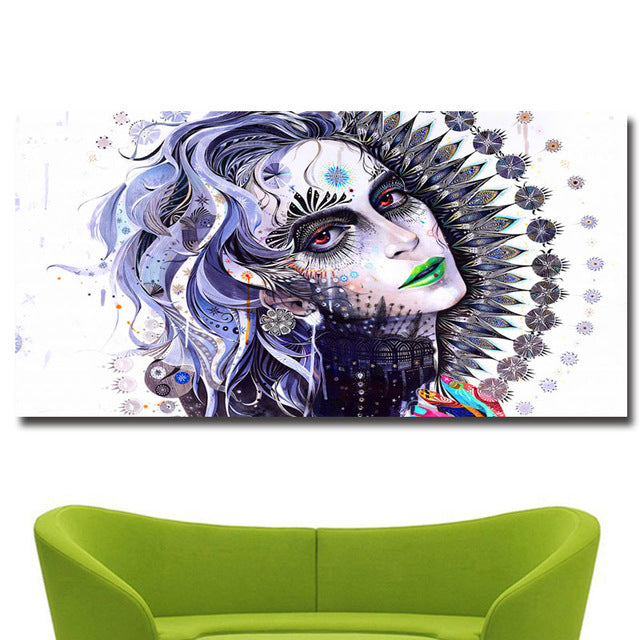 Colorful Beauty Girl Print on Canvas Painting No 2