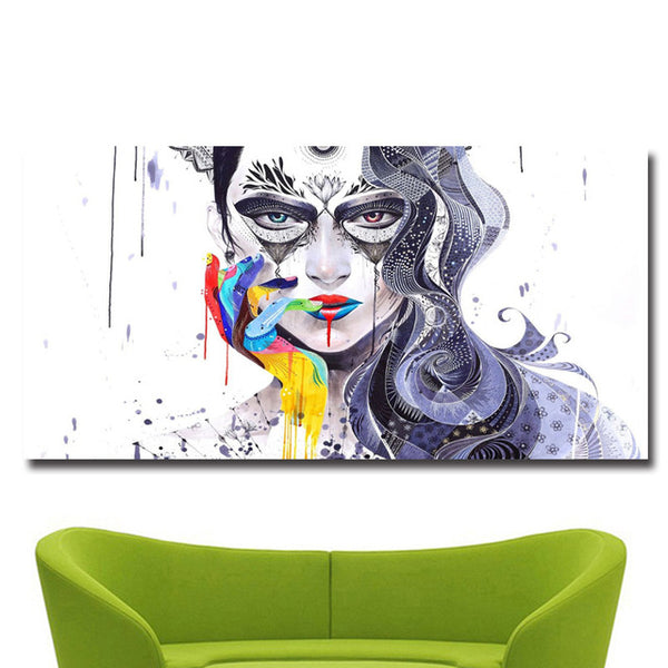Colorful Beauty Girl Print on Canvas Painting No 1