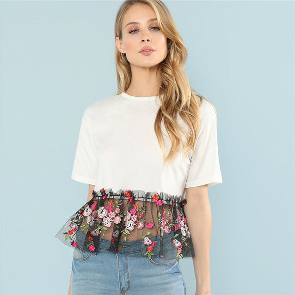 White Floral Contrast Embroidery Casual T-Shirt Top