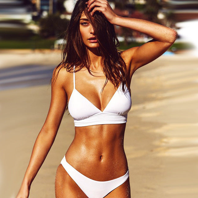 New Look White Lace Up Bikini Set