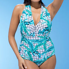 Sky blue Plus Size One Piece Swimsuit