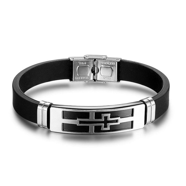 Cross PU Leather Stainless Steel Men Bracelet