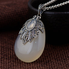 925 Sterling Silver Water Drop Mosaic Pendant for Women
