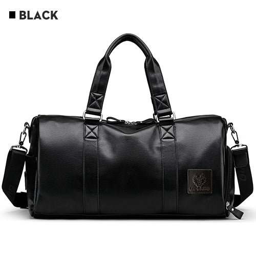 Waterproof Leather Large Capacity Black Travel Shoulder / Hand Bag