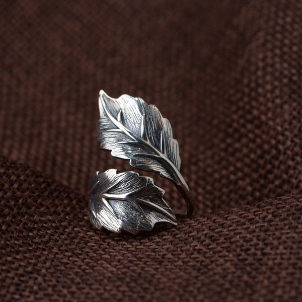 Real 925 Sterling Silver Jewelry Vintage Leaf Ring