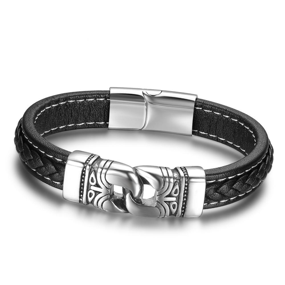 Ancient Style Genuine Leather Stainless Steel Bracelet