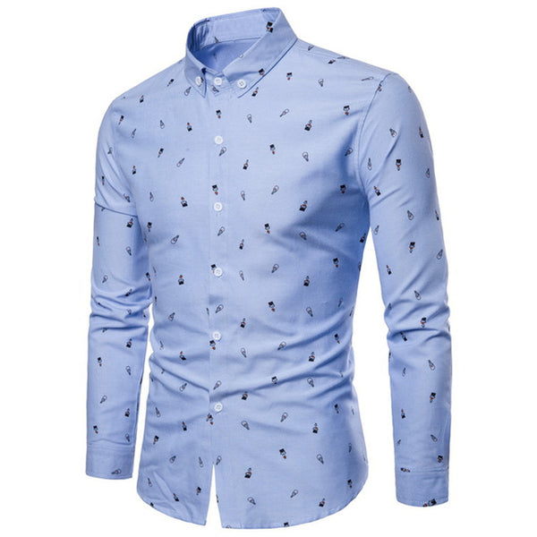 Casual Cartoon Printing Cotton Blend Long Sleeve Shirt - Light Blue