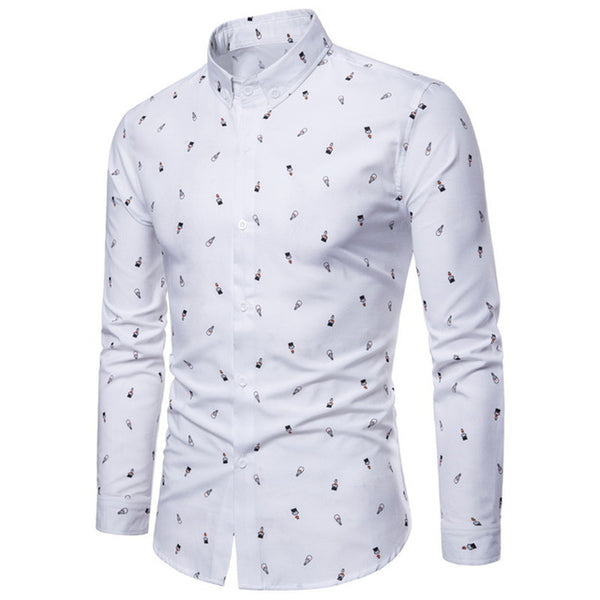 Casual Cartoon Printing Cotton Blend Long Sleeve Shirt - White