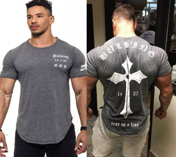 Short sleeve cotton Creative Printed Bodybuilding Fitness T-Shirt No11