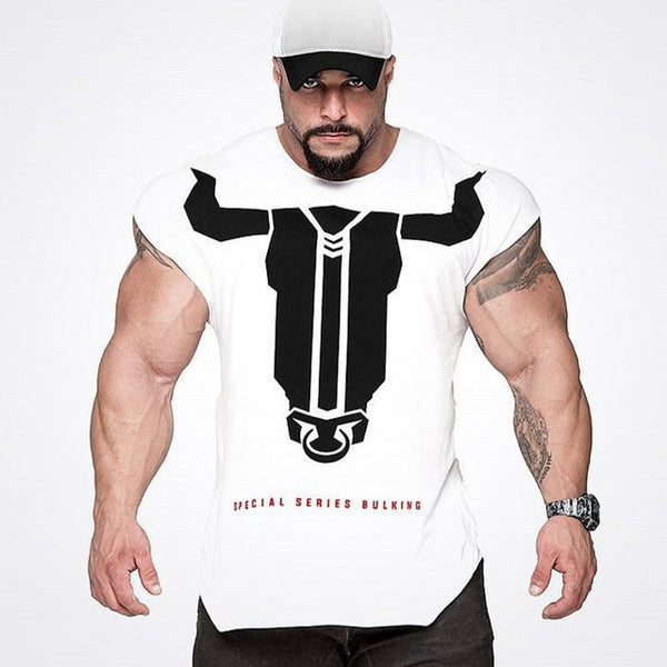 Short sleeve cotton Creative Printed Bodybuilding Fitness T-Shirt No8