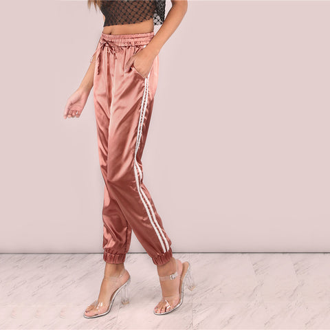 Mid Waist Satin Luxe Trainer Sweatpants