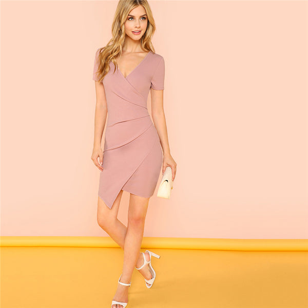 Pink Solid Surplice Wrap Fitted Dress