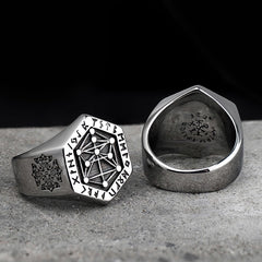 The Magical Stave of Vegvísir Stainless Steel Ring