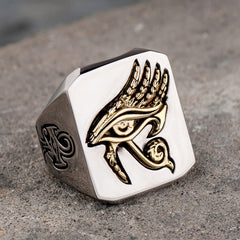 Eye of Horus Copper with Stainless steel Ring