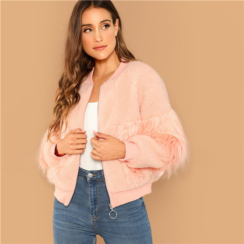 Faux Fur Detail Zip Up Teddy Jacket