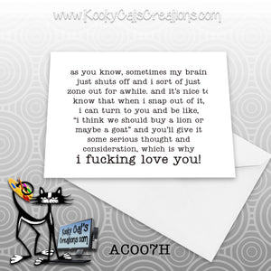 F**king Love You (AC007H) - ADULT Blank Notecard -  Sassy Not Classy, Funny Greeting Card