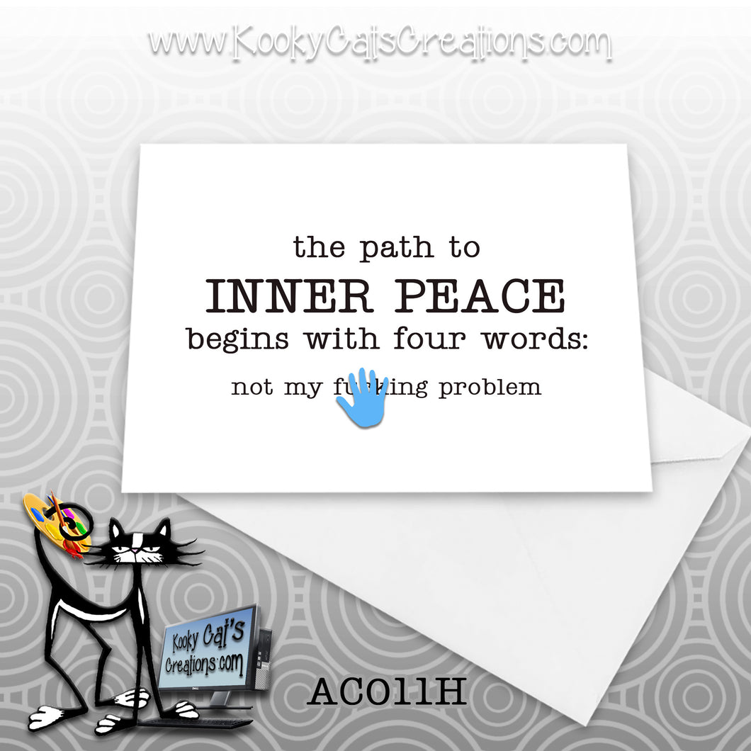 Inner Peace (AC011H) - ADULT Blank Notecard -  Sassy Not Classy, Funny Greeting Card