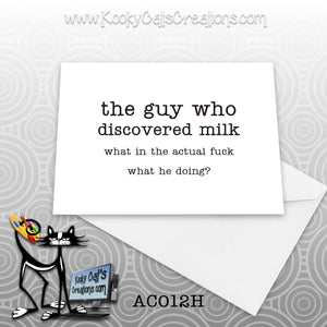 Milk (AC012H) - ADULT Blank Notecard -  Sassy Not Classy, Funny Greeting Card