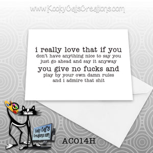 Really Love (AC014H) - ADULT Blank Notecard -  Sassy Not Classy, Funny Greeting Card
