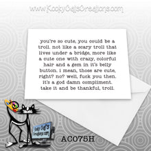 Troll (AC075H) - ADULT Blank Notecard -  Sassy Not Classy, Funny Greeting Card