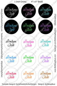 "CUSTOM 1"" Circles Digital Bottle Cap Images - Custom Name Collage Sheets (CUSKI) for Abbey Juarez"