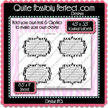 FREE SAMPLE - Zebra Journal Tags Printable JPG Instant Download (M123) Digital Graphics Ready-To-Print