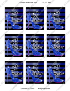 Digital Blue High Heels Mini Wine Bottle Label  -  Instant Download (M161) Digital Party Graphics - PERSONAL USE Only