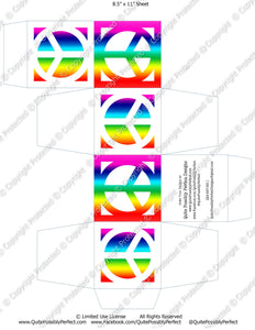 Peace Sign Cube Box Printable JPG Instant Download (M203) Digital Graphics Ready-To-Print