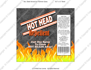 Go Away Hot Head Spray Digital Label -  Instant Download (M220) Digital Air Freshener Graphics - PERSONAL USE Only