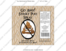 Go Away Stinky Poo Spray Digital Label -  Instant Download (M221) Digital Air Freshener Graphics - PERSONAL USE Only