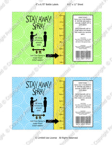 Digital Stay Away Spray Label -  Instant Download (M239) Digital Bottle Label Graphics - PERSONAL USE Only