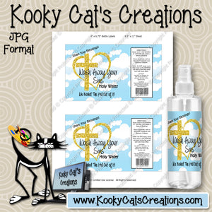 Digital Holy Water Spray Label -  Instant Download (M240) Digital Bottle Label Graphics - PERSONAL USE Only