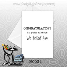 Congratulations On Your Divorce (NC034) - Blank Notecard -  Sassy Not Classy, Funny Greeting Card