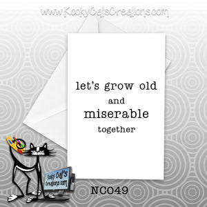 Miserable Together (NC049) - Blank Notecard -  Sassy Not Classy, Funny Greeting Card