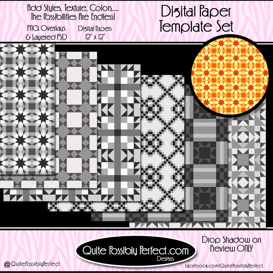 Digital Paper Templates - Quilt Blocks Paper Pack Template (PT116) CU Layered Overlay for Creating Your Own Digital Papers Commercial Use OK
