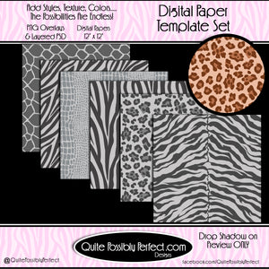 Digital Paper Templates - Animal Print Paper Pack Template (PT121) CU Layered Overlay for Creating Your Own Digital Papers Commercial Use OK