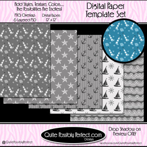 Digital Paper Templates -Nautical Paper Pack Template (PT123) CU Layered Overlay for Creating Your Own Digital Papers Commercial Use OK