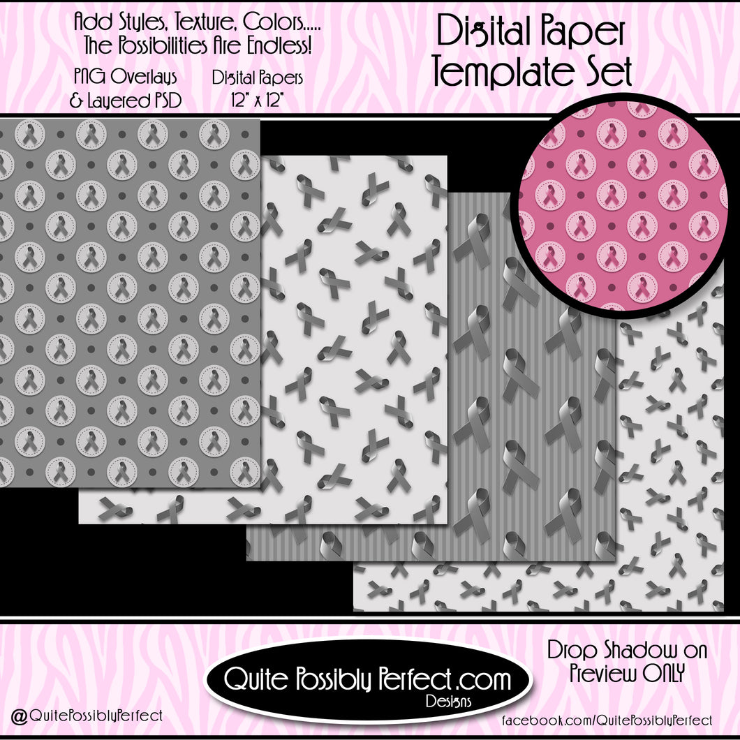 Digital Paper Template - Awareness Ribbons (PT126) CU Layered Overlay for Creating Your Own Digital Papers Commercial Use OK