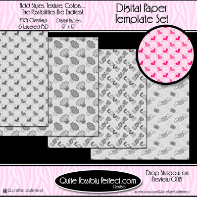 Digital Paper Templates - Valentine Set 1 Paper Template (PTJC101) CU Layered Overlay for Creating Your Own Digital Papers Commercial Use OK
