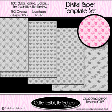 Digital Paper Templates - Valentine Set 2 Paper Template (PTJC102) CU Layered Overlay for Creating Your Own Digital Papers Commercial Use OK