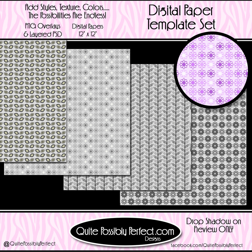 Digital Paper Templates - Flower Power 1 Paper Templates (PTJC105) CU Layered Overlay for Creating Your Own Digital Papers Commercial Use OK