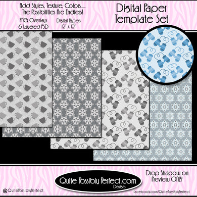 Digital Paper Templates - Winter Time Paper Templates (PTJC107) CU Layered Overlay for Creating Your Own Digital Papers Commercial Use OK