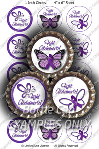 Digital Bottle Cap Images - Diabetes Butterfly Collage Sheet (R1096) 1 Inch Circles for Bottlecaps, Magnets, Jewelry, Hairbows, Buttons