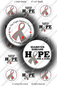 Digital Bottle Cap Images - Diabetes AwarenessCollage Sheet (R1097) 1 Inch Circles for Bottlecaps, Magnets, Jewelry, Hairbows, Buttons8